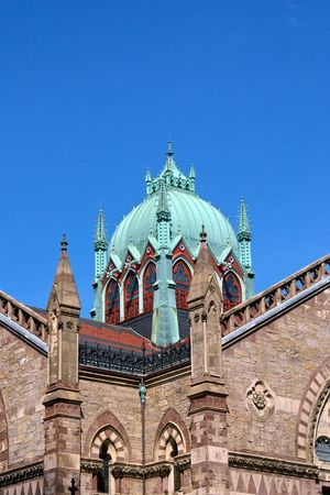 oxidized: ornate copper dome of the old south church in boston massachusetts