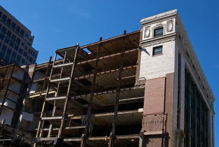old building being demolished in downtown boston massachusetts Фото со стока