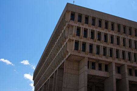 looking up at boston city hall showing its angular shape on a clear day Banco de Imagens - 3220836