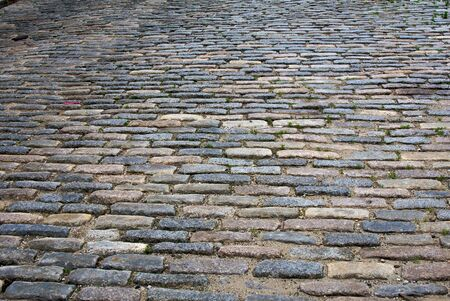 north   end: detail of cobblestone road in north square in the north end section of boston massachusetts