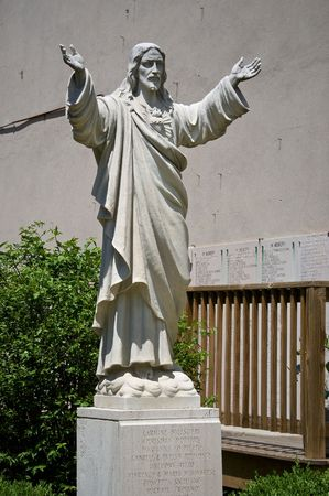 north   end: public statue of the jesus christ located at the peace garden of st leonard in the north end of boston massachusetts