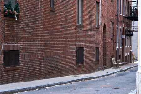 north   end: looking down empty alley in historic north end in boston massachusetts Stock Photo