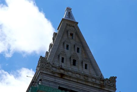 pyramid peak: detail of upper peak of the tower of the old custom house in boston massachusetts