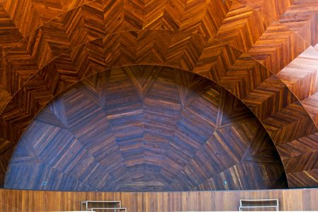 curved outdoor wooden concert stage, the hatch shell in boston massachusetts
