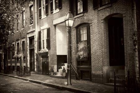apartment: beautiful sepia toned image of old beacon hill in boston massachusetts Stock Photo