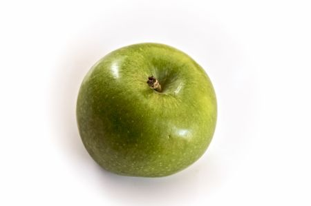 granny smith apple: one granny smith apple seen from above