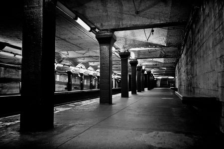 depot: black and white monochrome image of old decaying subway station in boston massachusetts