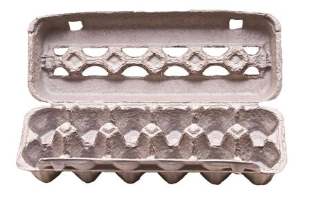 empty egg carton isolated on white rich in detail photo