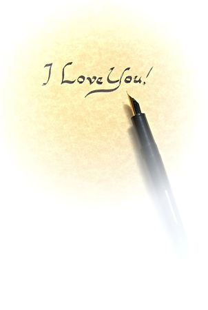 i love you leter being written in calligraphy on parchment paper with pen photo
