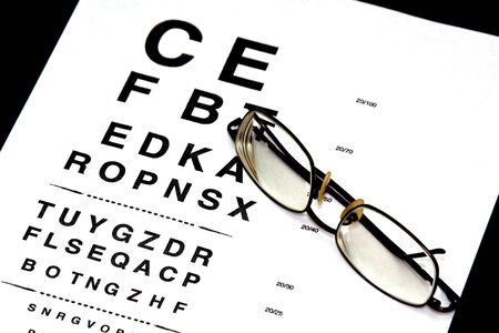 heathcare: modern eyeglasses resting on eyechart with frame closed