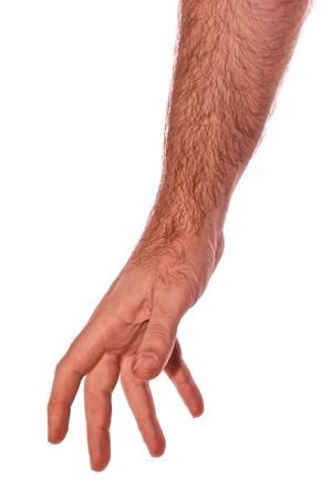 reaching hands: man arm bereiken omlaag geïsoleerd op wit