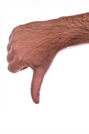 mans hand giving thumbs down gesture