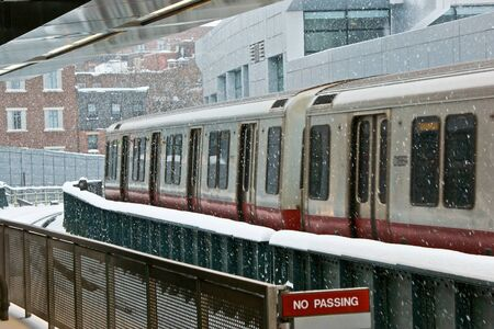 waiting on the train platform at charles street station during a snow storm in boston massachusetts Stock Photo - 4046651