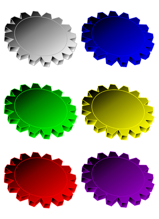 six various colored vector gears in perspective
