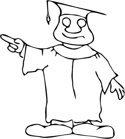 Cartoon professor or graduating student pointing off to the side coloring book style Illustration