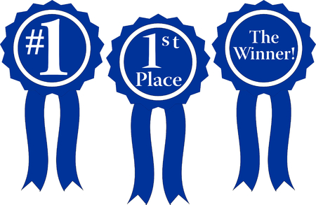 three blue ribbon awards, #1, 1st Place and the winner!
