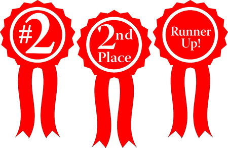 three red ribbon awards, #2, 2nd Place and runner up! Illustration