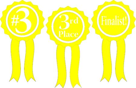 three yellow ribbon awards, #3, 3rd place and finalist!