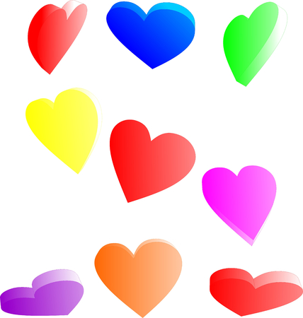 colorful candy hearts from various angles