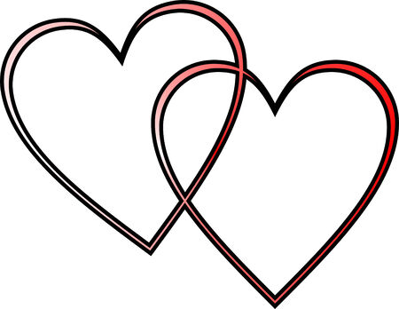 two outlined hearts interlocked, red gradient with black outline