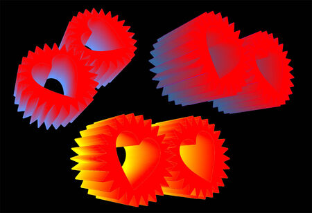 three sets of heart gears against black working together