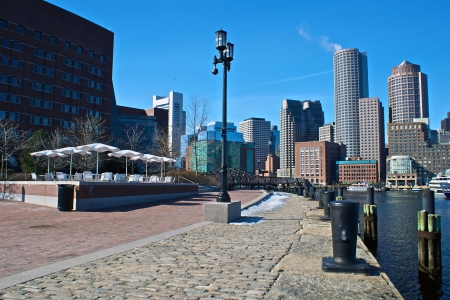 view of federal courthouse at boston harbor with rowes wharf and skyscraper buildings in boston massachusetts Banque d'images