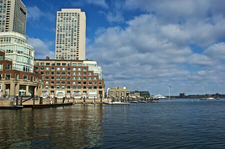 view of boston harbor and rowes wharf and skyscraper buildings in boston massachusetts Stock fotó