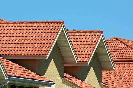 orange roof top peaks in sunshine wiht blue sky