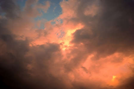 beautiful intensely colorful dramatic sunset clouds over florida