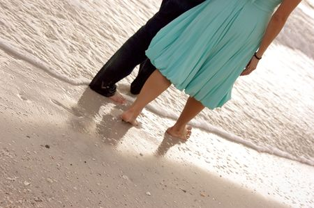 be dressed in: a barefoot couple are walking in the sand along the edge of the ocean, Shot from the waist down, They appear to be well dressed.