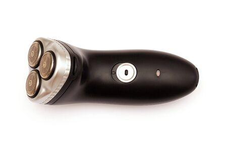 electric shaver: tre rasoio elettrico testa su bianco. Archivio Fotografico
