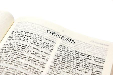 title page: Una Biblia abierta con la p�gina hacia la p�gina de t�tulo del G�nesis contra blanco.  Foto de archivo