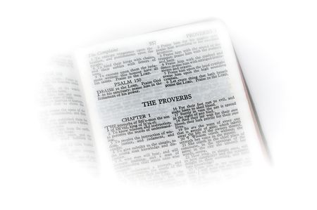 holy bible open to the book of  proverbs , with white vignette giving the image a clean heavenly feel. 版權商用圖片