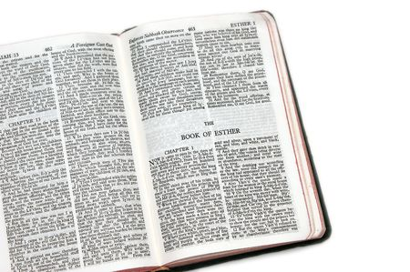 esther: holy bible open to the book of  esther, on white background