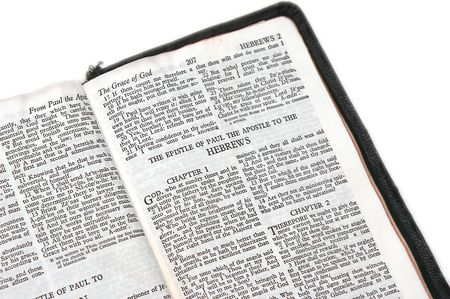hebrews: holy bible open to the epistle of paul the apostle to the hebrews, on white background