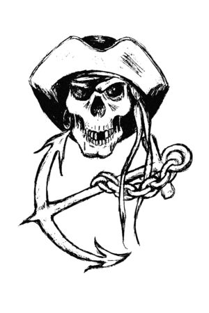 original black and white  illustration of pirate skull with anchor and chain