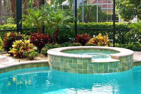 スイミング プールの植物に囲まれ、ラナイ島で上映の詳細。