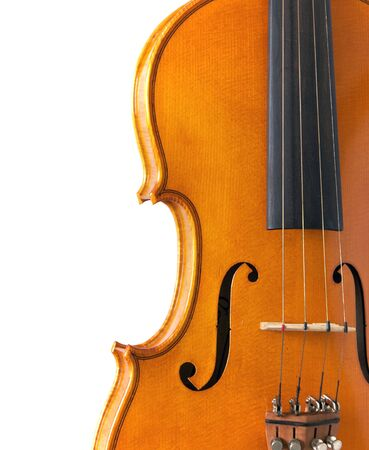 clsoe up detail image of waist, f-hole, and strings of violin