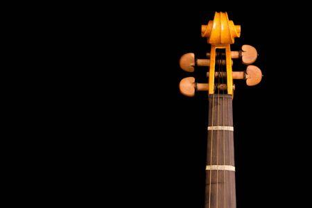 detail of neck and scroll of violin on black background Reklamní fotografie