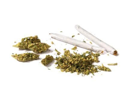stash: two joints and a stash of marijuana on white background