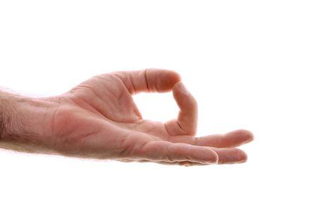 hand position: Se muestra la mano de un hombre en posici�n de mano como yoga gyan mudr? que se utiliza para la conexi�n a tierra. Representando a casa o lugar de inicio, de vuelta a sus ra�ces, una vez m�s simple. Borra la mente. Filmada en blanco. Foto de archivo