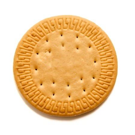 round: one flat round cookie on white Stock Photo