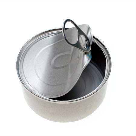 aluminum: looking down on silver metal cat food  can, can is open and empty, with pull tab lid curled back.
