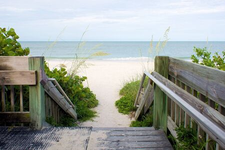 looking downn wooden steps leading to beach, bonita beach, florida Stock Photo - 7408550