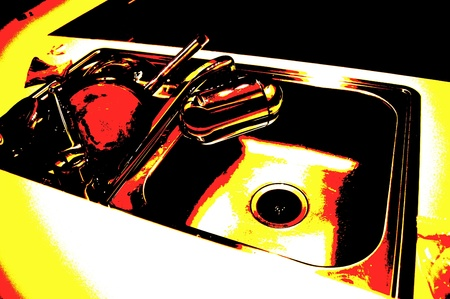 stainless steel kitchen: Posterized image of a stainless steel kitchen sink with water filter and dirty dishes.