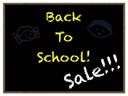 Illustration of an old fashioned school blackboard with the words :Back to School ! and Sale! With line drawings of a boy and girl.