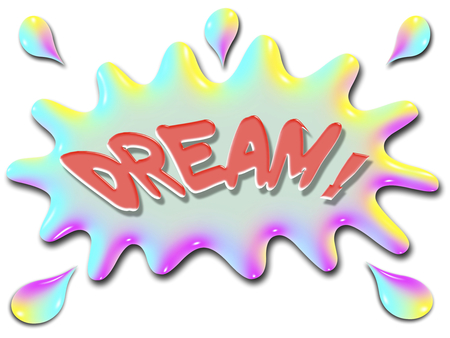The word Dream is shown on top of a stylized splash of water, very colorful, and rainbow like. Stok Fotoğraf