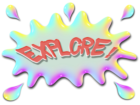 The word explore is shown on top of a stylized splash of water, very colorful, and rainbow like.