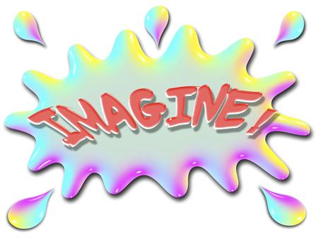 言葉想像の水、非常にカラフルな虹のような様式化されたスプラッシュの上に表示されます。