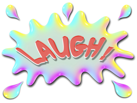 The word Laugh is shown on top of a stylized splash of water, very colorful, and rainbow like. Stock fotó - 30699613